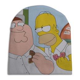 "Шапка унисекс с полной запечаткой ""Peter and Homer"" - юмор, сериалы, приколы, homer, peter"