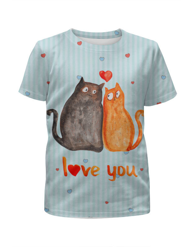 Футболка с полной запечаткой для мальчиков Printio Влюбленные коты. парные футболки. футболка с полной запечаткой мужская printio влюбленные птички парные футболки
