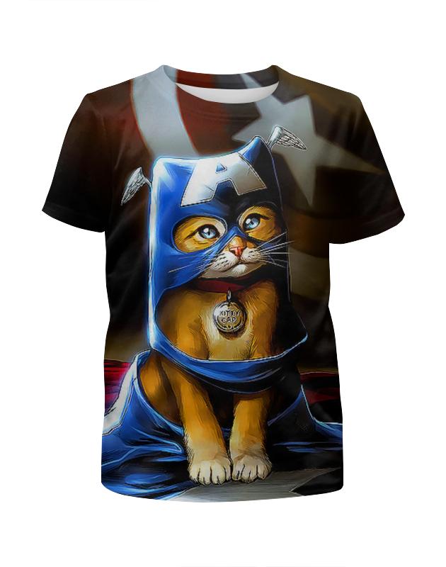 Printio Котик супергерой футболка с полной запечаткой для мальчиков printio котик новогодний