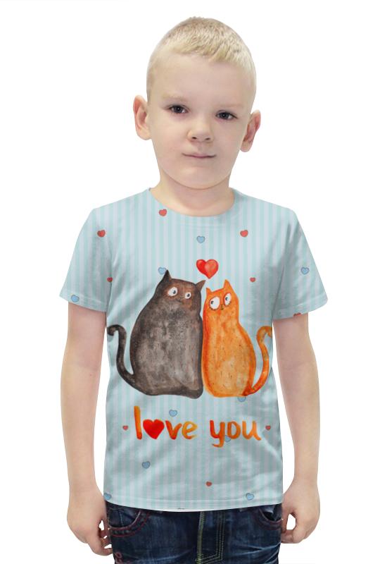 Футболка с полной запечаткой для мальчиков Printio Влюбленные коты. парные футболки.