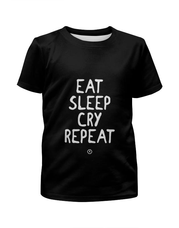 Футболка с полной запечаткой для мальчиков Printio Eat cry repeat by brainy футболка repeat футболка