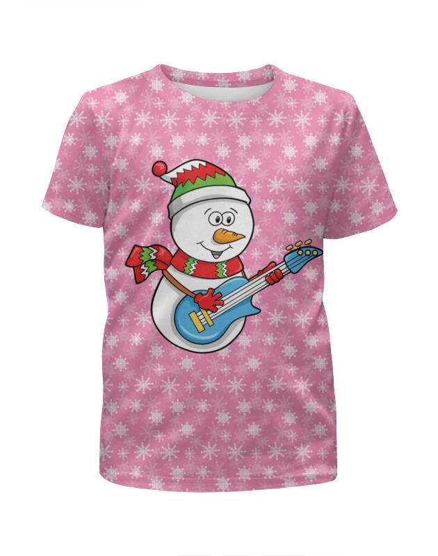 Футболка с полной запечаткой для мальчиков Printio Снеговик с гитарой (новый год)