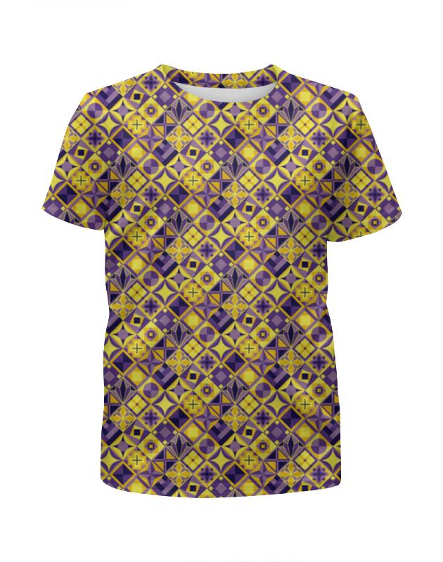 Футболка с полной запечаткой для мальчиков Printio Желто-фиолетовый геометрический орнамент футболка с полной запечаткой для мальчиков printio геометрический орнамент
