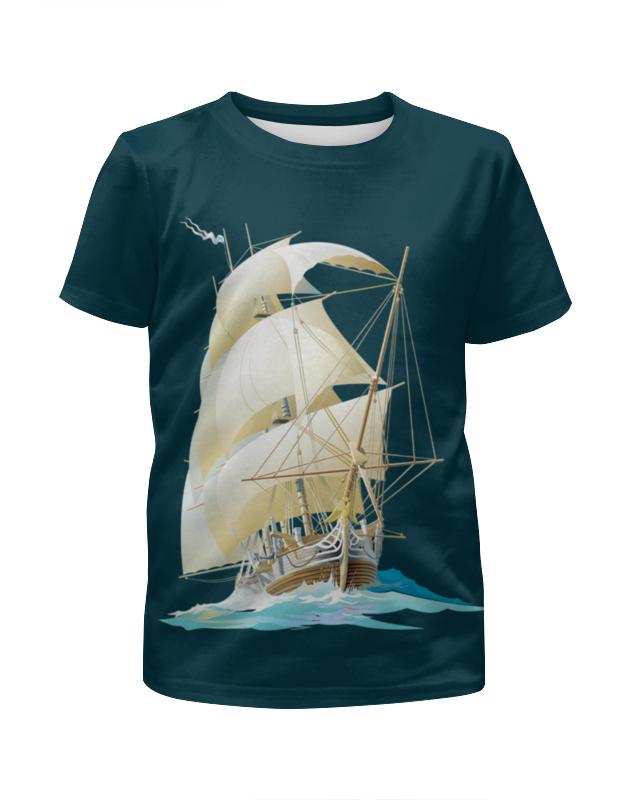 футболка с полной запечаткой для мальчиков printio остров в море Футболка с полной запечаткой для мальчиков Printio Парусник