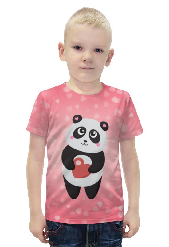 Футболка с полной запечаткой для мальчиков Printio Панда с сердечком футболка с полной запечаткой для девочек printio панда