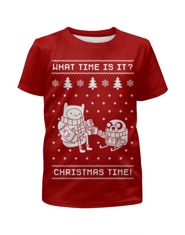 Футболка с полной запечаткой для мальчиков Printio Новый год с финном и джейком футболка с полной запечаткой для мальчиков printio новый год 2016
