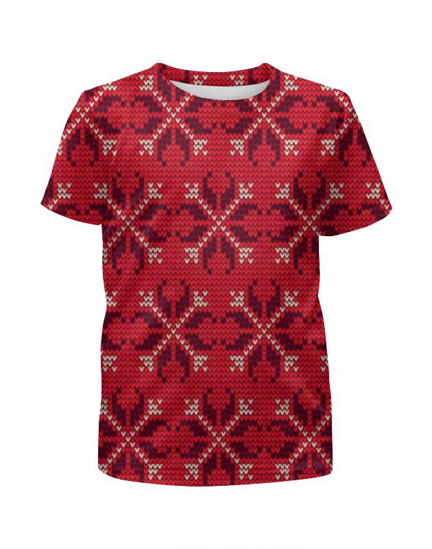 Футболка с полной запечаткой для мальчиков Printio Узор новогодний футболка для беременных printio новогодний лось