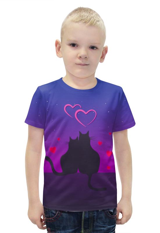 Футболка с полной запечаткой для мальчиков Printio Cat's desire. парные футболки.