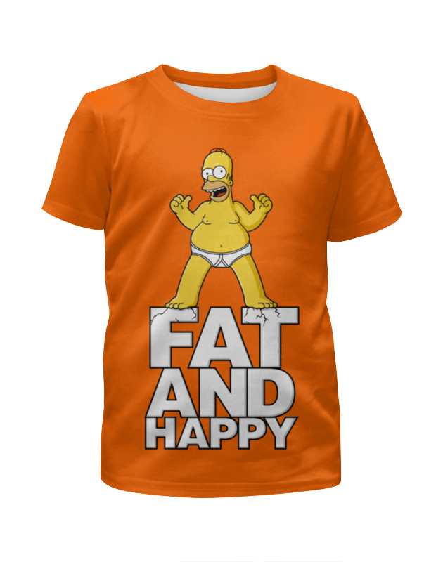 Футболка с полной запечаткой для мальчиков Printio Гомер симпсон. толстый и счастливый футболка с полной запечаткой для девочек printio гомер симпсон халк