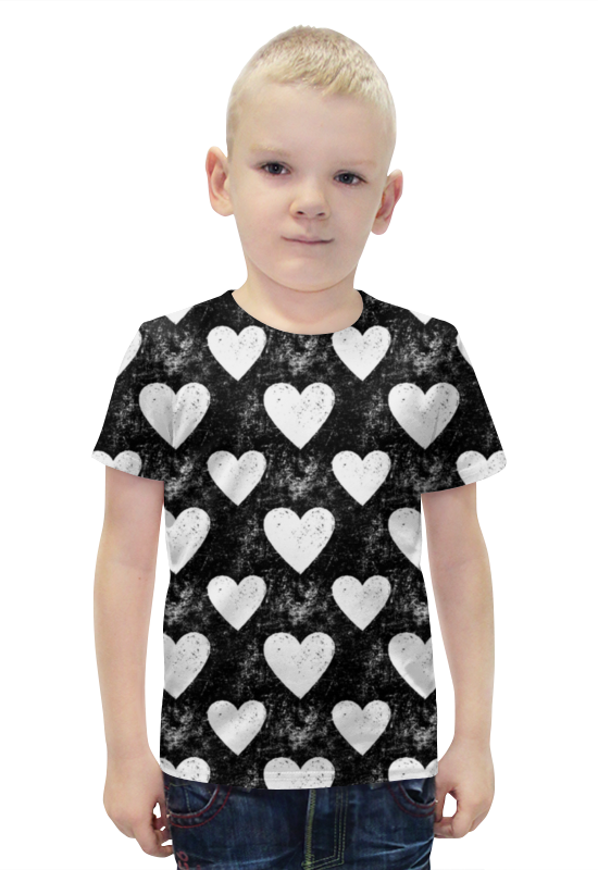 Футболка с полной запечаткой для мальчиков Printio Черно-белые сердца белла панти 40 шт слим черно белые 933325