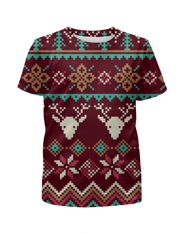 Футболка с полной запечаткой для мальчиков Printio Новогодний орнамент футболка с полной запечаткой для мальчиков printio геометрический орнамент