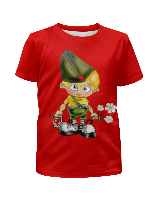 Футболка с полной запечаткой для мальчиков Printio Малыш солдат .звезда. победа. футболка для беременных printio неизвестный солдат