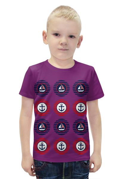 """Футболка с полной запечаткой для мальчиков """"Морская тема """" - кораблик, якорь"""