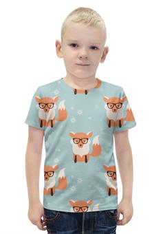 """Футболка с полной запечаткой для мальчиков """"Лисички"""" - животные, очки, лисички"""
