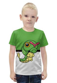 """Футболка с полной запечаткой для мальчиков """"Покемон Катерпи"""" - гусеница, pokemon, покемон, катерпи, caterpie"""