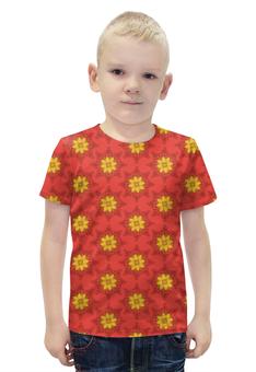 """Футболка с полной запечаткой для мальчиков """"Солнечный узор"""" - арт, цветы, узор, стиль, рисунок"""
