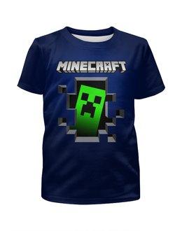 """Футболка с полной запечаткой для мальчиков """"Minecraft """" - майнкрафт, стратегия, компютерная игра, пиксильный стиль"""