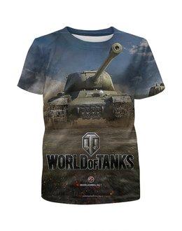 """Футболка с полной запечаткой для мальчиков """"ТАНКИ .WORLD OF TANKS. ВИДЕОИГРЫ"""" - эмблема, танк, стиль надпись логотип яркость, арт фэнтези"""