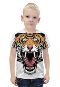 """Футболка с полной запечаткой для мальчиков """"Тигр """" - tiger, тигр, оскал"""