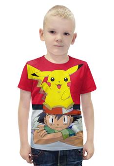 """Футболка с полной запечаткой для мальчиков """"Ash & Pikachu"""" - нинтендо, пикачу, эш, pikachu, покемон го"""