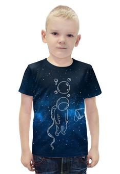 """Футболка с полной запечаткой для мальчиков """"Грустный космонавт"""" - звезды, космос, космонавт"""