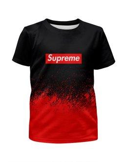 """Футболка с полной запечаткой для мальчиков """"Supreme (1)"""" - red, краска, supreme, суприм, sup"""