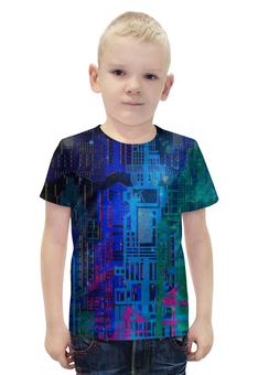 """Футболка с полной запечаткой для мальчиков """"Космический город"""" - голубой, космос, графика, геометрия, небоскребы"""