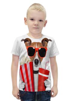 """Футболка с полной запечаткой для мальчиков """"Песик"""" - очки, собака, собачка, 3д, попкорн"""