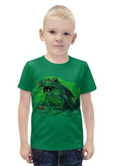 """Футболка с полной запечаткой для мальчиков """"Жаба с кузнечиком"""" - прикол, юмор, насекомые, жаба, кузнечик"""