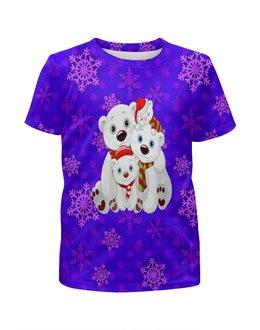 """Футболка с полной запечаткой для мальчиков """"Белые медведи"""" - животные, медведь, снежинки, белый медведь, полярные медведи"""