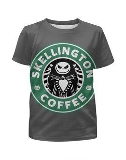 "Футболка с полной запечаткой для мальчиков ""Starbucks / Skellington coffee"" - кофе, coffee, starbucks, старбакс, хеловин"