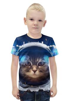 """Футболка с полной запечаткой для мальчиков """"Котосмонавт"""" - кот, космос, животное, костюм"""
