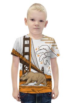 """Футболка с полной запечаткой для мальчиков """"Bear on Shark / Медведь на Акуле  """" - арт, медведь, город, вода, акула"""
