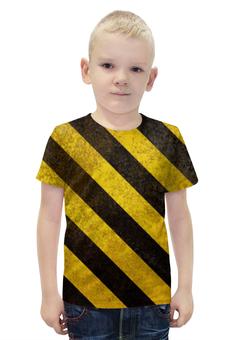 """Футболка с полной запечаткой для мальчиков """"Полосы 6"""" - чёрный, жёлтый, полосы"""