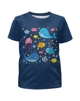 """Футболка с полной запечаткой для мальчиков """"Морские обитатели"""" - океан, медузы, рыбки, киты"""