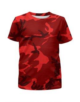 """Футболка с полной запечаткой для мальчиков """"Красный Камуфляж"""" - army, камуфляж, camo, красный камуфляж, red camouflage"""