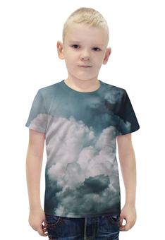 """Футболка с полной запечаткой для мальчиков """"Облака"""" - облака, воздух, cloud, air, погода"""