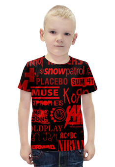 """Футболка с полной запечаткой для мальчиков """"Rock Band (Рок группы)"""" - nirvana, muse, placebo, sum 41, korn"""