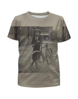 """Футболка с полной запечаткой для мальчиков """"Парень на велосипеде"""" - арт, ретро, велосипед"""