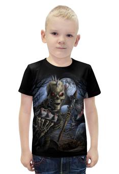 """Футболка с полной запечаткой для мальчиков """"Скелет с топором"""" - skull, череп, skeleton, скелет, кровь"""