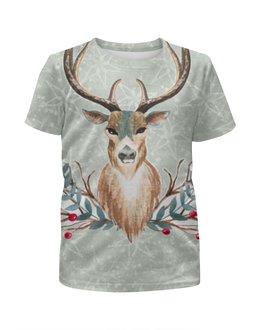 """Футболка с полной запечаткой для мальчиков """"Deer (олень)"""" - лес, олень, рога, deer, merry christmas"""