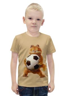 """Футболка с полной запечаткой для мальчиков """"Гарфилд футболист"""" - футбол, спорт, котик"""
