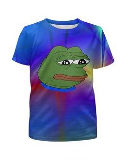 """Футболка с полной запечаткой для мальчиков """"Sad Frog"""" - мем, meme, sad frog, pepe frog, pepe the frog"""
