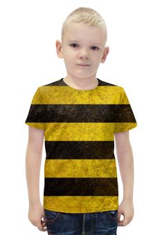 """Футболка с полной запечаткой для мальчиков """"Полосы 4"""" - чёрный, жёлтый, полосы"""