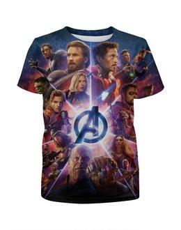 """Футболка с полной запечаткой для мальчиков """"Мстители"""" - кино, фантастика, роберт джон дауни, avengers the war of infinity, мстители война бесконечности"""