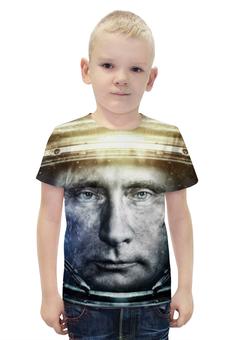 """Футболка с полной запечаткой для мальчиков """"Владимир Путин """" - путин, putin, владимир путин, космонавт"""
