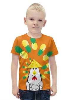 """Футболка с полной запечаткой для мальчиков """"Курица с ананасом"""" - шляпа, ананас, курица, азиатский вкус"""