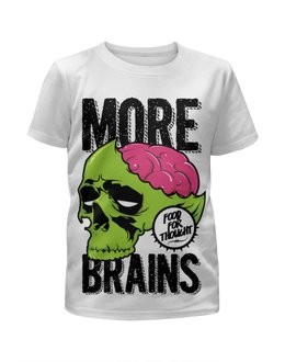 "Футболка с полной запечаткой для мальчиков ""зомби ( zombie )"" - zombie, зомби, мозги, brains"