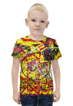 """Футболка с полной запечаткой для мальчиков """"Паутинка"""" - арт, узор, желтый, абстракция, фигуры"""
