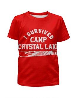 """Футболка с полной запечаткой для мальчиков """"Camp crystal lake"""" - кинжал"""